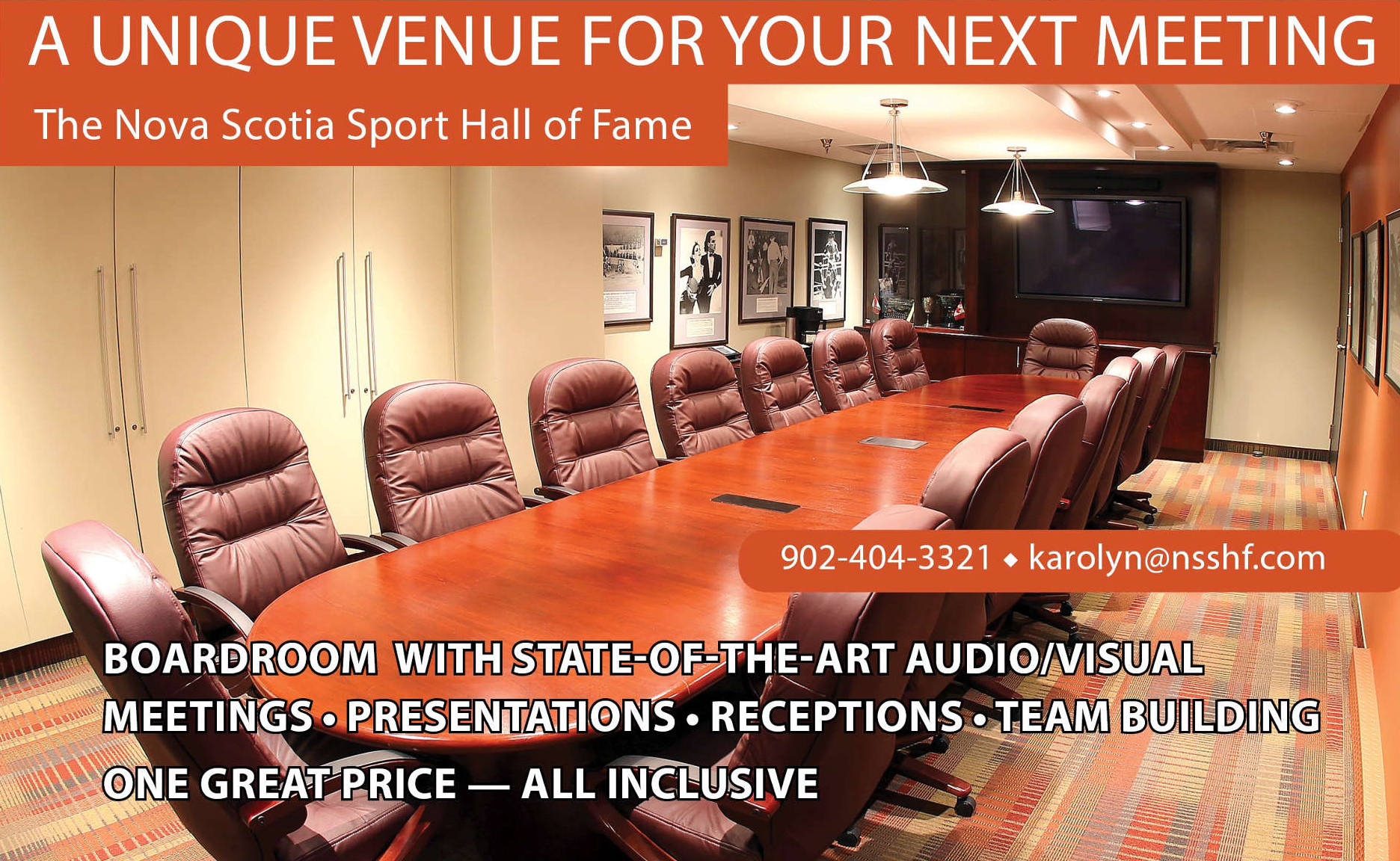 A unique venue for your next meeting. Boardroom with state-of-the-art audio/visual, meetings, presentations, receptions, team building. One great price - all inclusive.