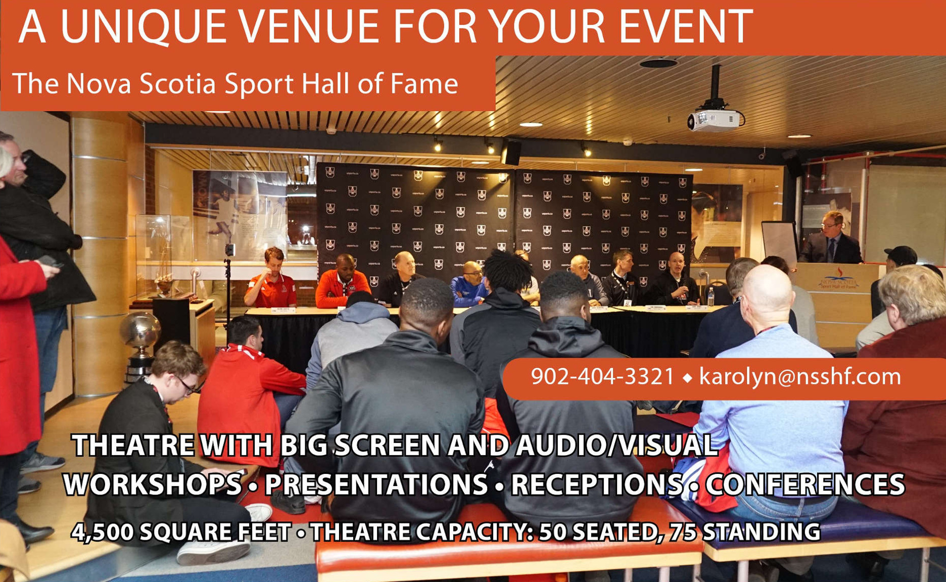 A unique venue for your event. Theatre with big screen and audio/visual, workshops, presentations, receptions, conferences. 4500 square feet, theatre capacity: 50 seated, 75 standing